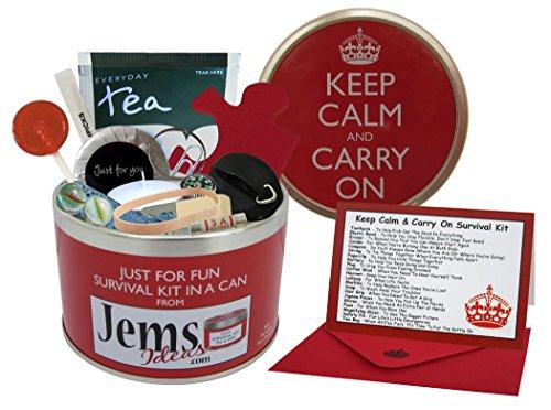 Kit de supervivencia en una lata Keep Calm & Carry On Regalo divertido de cumpleaños, jubilación, Navidad, Año Nuevo, etc.