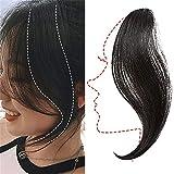 Human Hair Extensions Clip in Human Hair Bang Long Side Bangs Natural Wave...