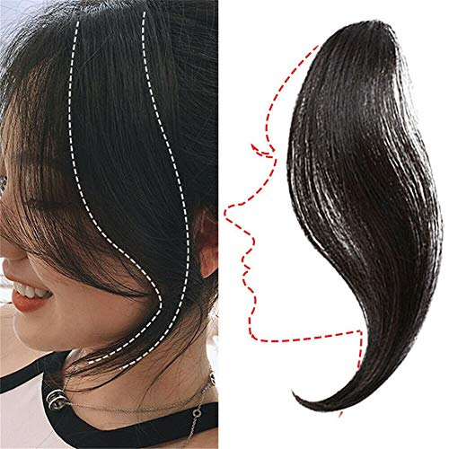 Human Hair Extensions Clip in Human Hair Bang Long Side Bangs Natural Wave Fringe Clip in Hair Extensions Bangs(25cm Natural Color 1pc)