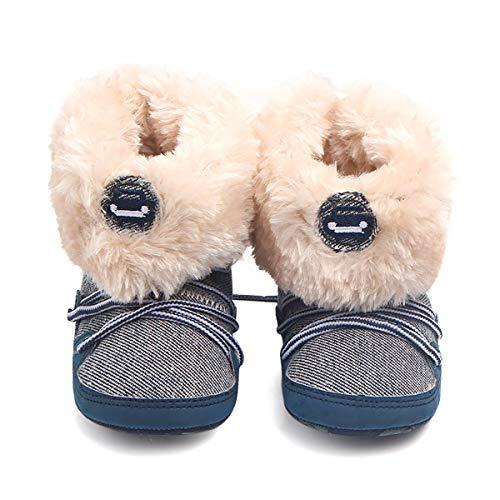 Fad-J Premiers Bottes pour Enfants d'hiver Walker Chaussures à Fond Mou Nouveau-né Laçage pour Tout-Petits (0-2 Ans),Blue,11cm