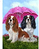 WAYATI 5D Diamond Painting Mosaic Cross Stitch Cavalier King Charles Spaniel Dog Pattern Embroidery Cute pet Puppy Round Diamond 40x50cm