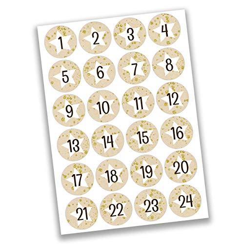 Papierdrachen 24 Adventskalender Zahlen Aufkleber - weiße Sterne auf beige Nr 18 - Sticker 4 cm - zum Basteln und Dekorieren