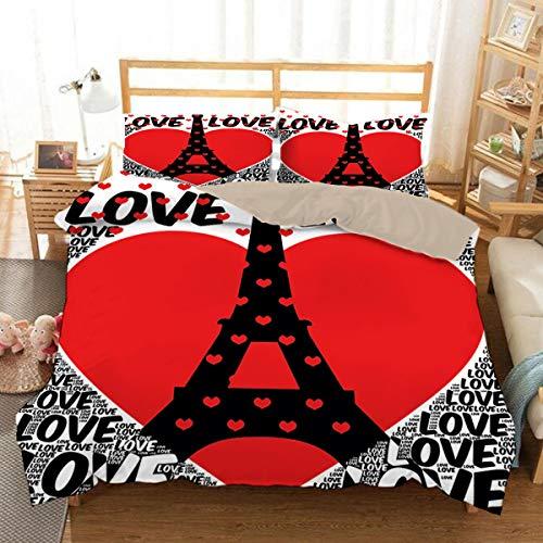 QWAS Super suave y cómodo, Paris romántico edredón y funda de almohada, impresión digital, 100% microfibra, juego de 3 piezas (L1,200 x 200 cm + 50 x 75 cm x 2)