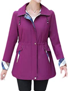 Macondoo Womens Jacket Hooded Outwear Anorak Casual Overcoat Trench Coat