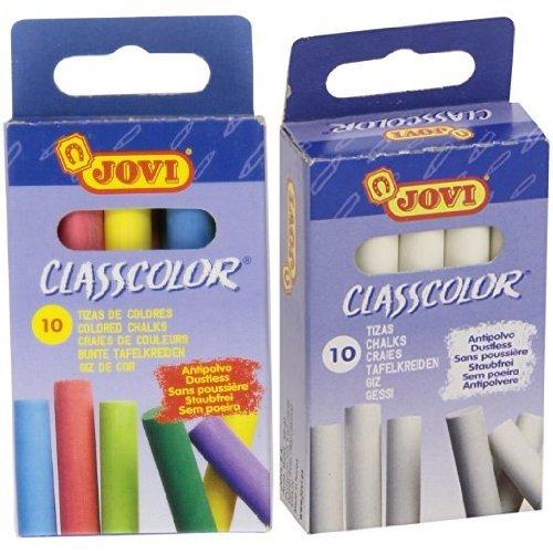 Jovi - Pack caja 10 tizas antipolvo blancas + Caja 10 tizas antipolvo de colores: Amazon.es: Juguetes y juegos
