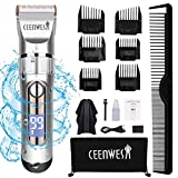 Ceenwes Professional Hair Clippers Cordless Hair trimmer Low Noise Hair Cutting Kit Beard Trimmer IPX7 Waterproof Body Hair Removal Machine with LED Display Hairdressing Cape and Travel Bag
