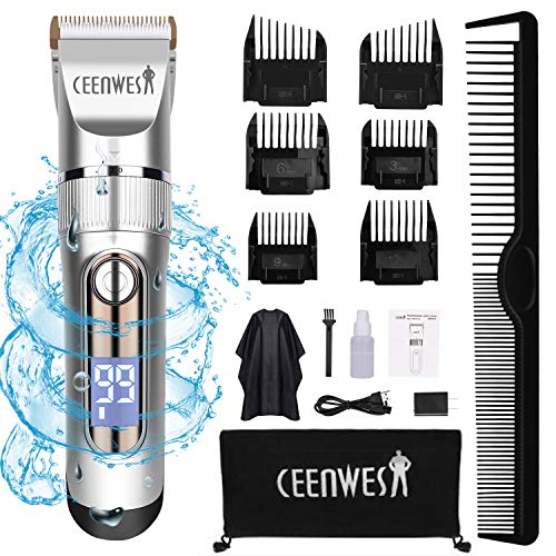 CEENWES Hair Clippers Professional Hair trimmer Quiet Cordless Hair Cutting Kit Beard Trimmer IPX7 Waterproof Body Hair Removal Machine with LED Display Hairdressing Cape and Travel Bag