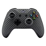 xbox one carbon fiber shell - eXtremeRate Black Silver Carbon Fiber Faceplate Cover, Soft Touch Front Housing Shell Case, Comfortable Soft Grip Replacement Kit for Microsoft Xbox One X & One S Controller