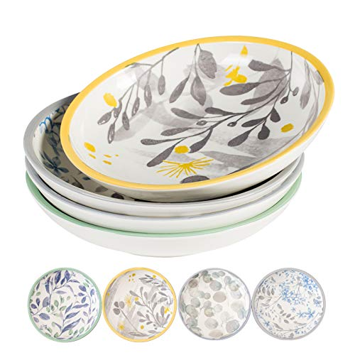 Lareina Pasta Bowls Set of 4, 8.5 inch Ceramic Salad Bowl, Wide and Shallow Large Serving Bowls for Pasta, Salad, Soup, Fruit, Dishwasher & Microwave Safe, Stackable and Sturdy