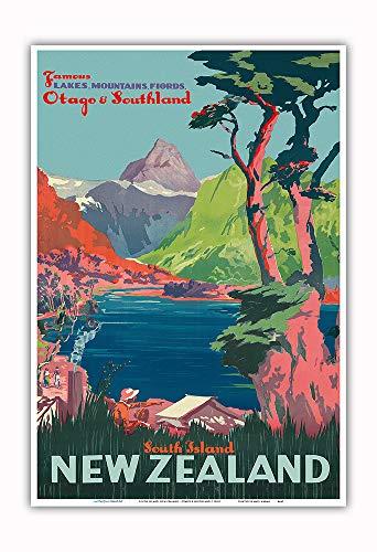 Île du Sud, Nouvelle-Zélande - Otago et Southland - Chemins de fer néo-zélandais - Affiche ferroviaire c.1930s - Impression d'art 33 x 48 cm