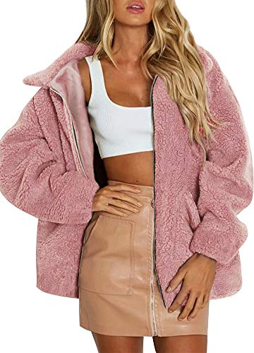 Romacci Women Faux Fur Coat Solid Color Long Sleeve Turn-Down Collar Pocket Fluffy Jacket Warm Outerwear Pink