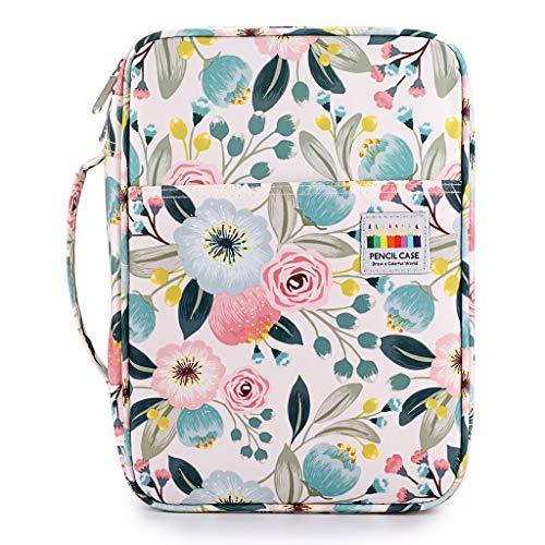 BTSKY Colored Pencil Case 220 Slots Pen Pencil Bag Organizer with Handy Wrap Portable- Multilayer Holder for Prismacolor Crayola Colored Pencils & Gel Pen Watercolor Flowers