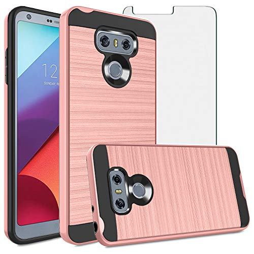 Asuwish Compatible with LG G6 Case Tempered Glass Screen Protector Cover Grip Slim Hard Shockproof Cell Phone Cases for LGG6 ThinQ LG6 Thin Q G 6 Plus G6+ 6G VS988 H872 Women Rose Gold