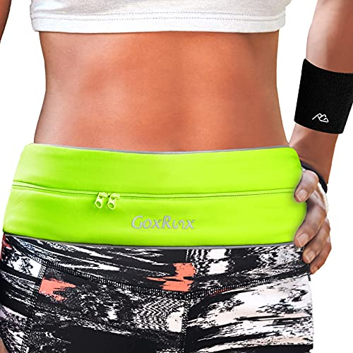 Running Belt Waist Pack with Sports Wristband,Reflective Zippered Runner Pocket Pouch Fanny Pack Adjustable Running Waistband with Key Clip for Fitness Walking Cycling, iPhone 11/X,Galaxy S10 (Yellow)