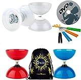 Henrys Beach - Free HUB Diabolo Set with Vega LED Kits + Coloured Aluminium Handsticks + Learn DVD + Travel Bag! Ultra Bright LED Light Kits on Bearing Diablo (Red Diabolo/Orange Handsticks)