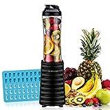 La Reveuse Smoothies Blender 300 Watt with 18 oz BPA Free Portable Travel Sports Bottle (Black)