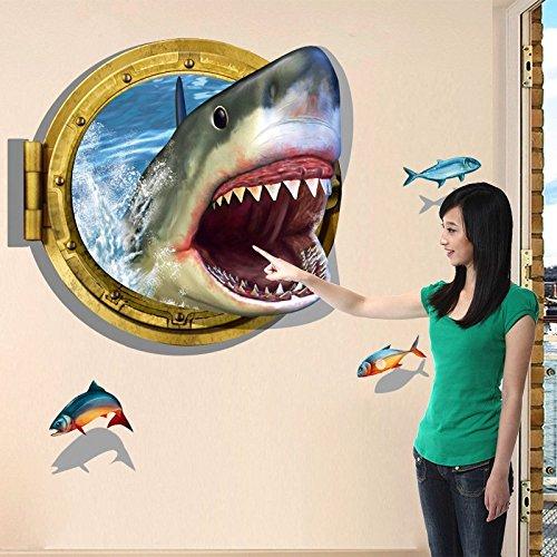 Hrph Shark 3D Aufkleber Wohnzimmer Sofa Schlafzimmer Badezimmer PVC Umweltschutz entfernen Wand-Aufkleber