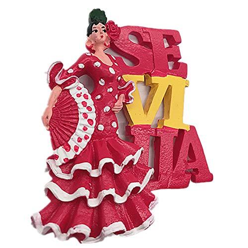 Imán de nevera 3d con diseño de chica bailando de Sevilla España para el hogar y la cocina de polirresina de Sevilla España imán para nevera