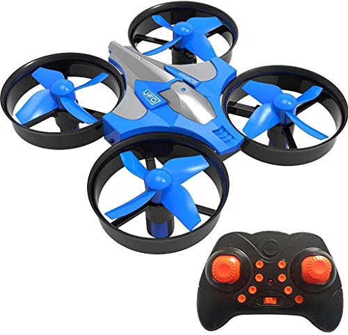 Bck 2.4Ghz Remote Control Drone Aerobatics 360° Rotation LED Lights Remote Control Toys Four-axis Small Aircraft Six-axis Gyroscope Air Pressure (Color : Blue)