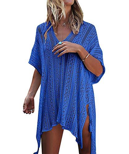 ShinyStar Damen Strandponcho Sommer Gestrickte Strandkleid Bikini Cover Up Boho Sommerkleid Blau Einheitsgröße