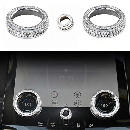 NIUHURU Car Interior Bling Accessories fit for Land Rover Range Rover Velar Evoque Freelander Discovery 2020-2021 Air Conditioner knob Cover Rhinestone Crystal Fashion Decals Accessories
