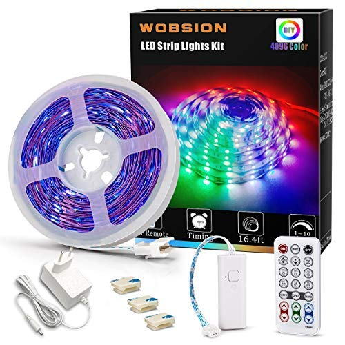 Wobsion RGB LED Streifen 5m dimmbar,led strip 5m selbstklebend,led kette mit fernbedienung,lichtband led selbstklebend,rgb streifen für Schlafzimmer,TV,Schrankdekoration,Farbwechsel.