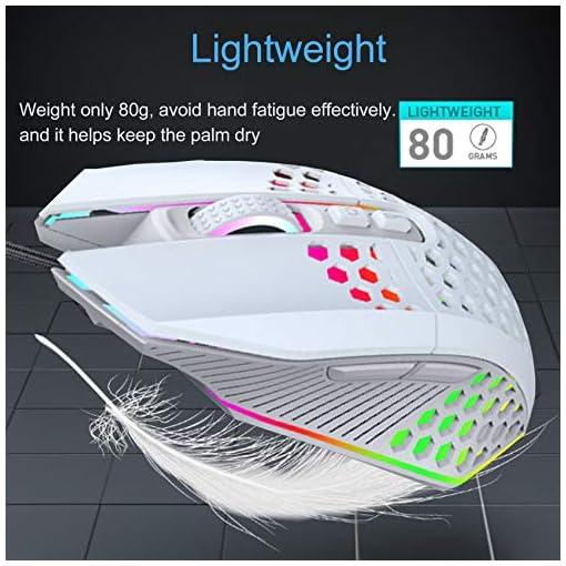 EasyULT Ratón Gaming con Cable, Ratón programables Iluminación RGB, 8000 dpi, 6 dpi Ajustable, Ultraligero Revestimiento… 4