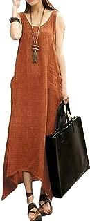 FSSE Women's Pockets Irregular Cotton Linen Summer Sleeveless Maxi Dress