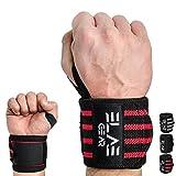 ELAE Professionelle Handgelenkbandage [2er Set] 70 cm Länge - Wrist Wraps für Kraftsport, Bodybuilding, Powerlifting, Gewichtheben und Fitness - One Size für Frauen und Männer Schwarz-Rot