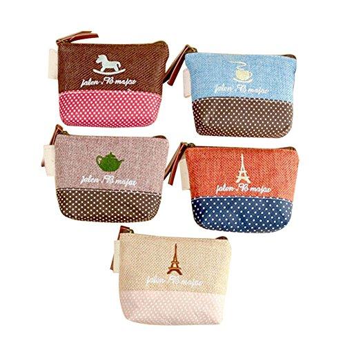 dosige 5 pièces broderie de coton et lin Porte-monnaie Trojan Tour Sac de stockage clé sac de pièces de tissu 11 * 9 cm