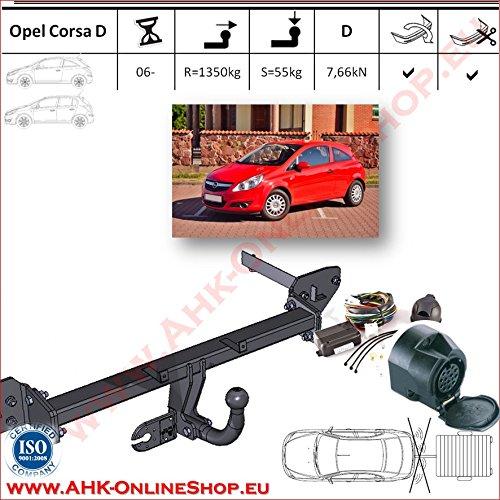 AHK Anhängerkupplung mit Elektrosatz 13 polig für Opel Corsa D 2006- Anhängevorrichtung Hängevorrichtung - starr, mit angeschraubtem Kugelkopf