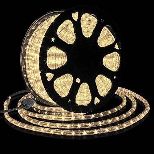 Forever Speed 30M Tubo de LED Manguera LED Luces de Tira de Manguera Exterior e Interior Blanco Cálido,Tiras LED Adecuado para Decoración e Iluminación Navidad, Halloween, Boda,Fiesta, Hotel, Jardín
