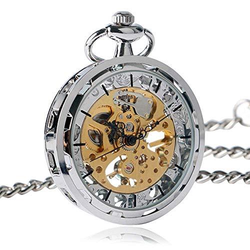 Yxxc Reloj de Bolsillo Reloj Steampunk para Hombre Mujer Reloj de Bolsillo mecánico de Cuerda Manual Plata Oro Bronce Colgante Negro con Fob Chian (Color: Plata)