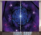 Ambesonne Mandala Curtains, Mystical Psychedelic Universe Flower in Space Motif Art Print, Living Room Bedroom Window Drapes 2 Panel Set, 108' X 63', Purple Blue
