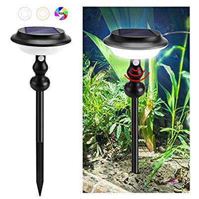 JACKYLED Solar Pathway Lights Outdoor with 4 Lighting Modes, Motion Sensor Solar Garden Lights with Color Changing, Waterproof 2200mAh Solar Landscape Lights for Path Lawn Walkway Patio Yard (1-Pack)