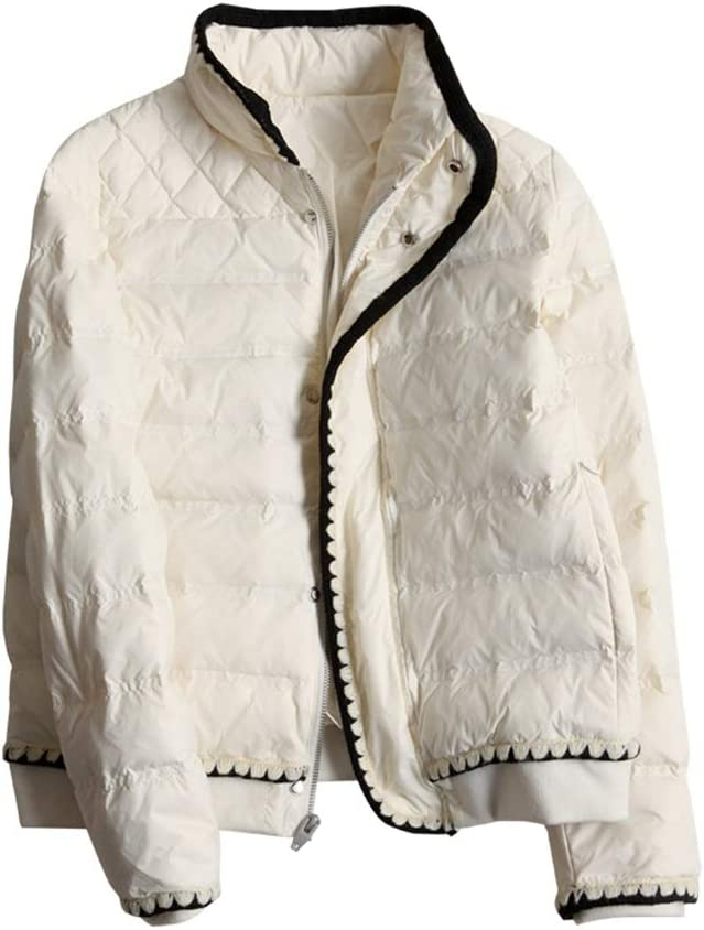 Women's Puffer Coat Stand Collar Lightweight Full-Zip Puffer Jacket Winter Snow Coat for Fall and Winter (Color : White, Size : Medium)