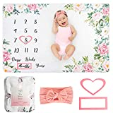 Baby Monthly Milestone Blanket - Personalized Newborn Growth Chart - Customized Soft Fleece Photography Background - Includes Premium Heart, Frame and Pink Bow Headband. 60' X 40'