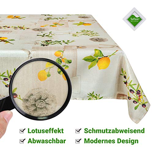 Valia Home Tischdecke Tischtuch Tafeldecke schmutzabweisend wasserabweisend Lotuseffekt pflegeleicht eckig in verschiedenen Größen und Designs (Mediterran, 140 x 200 cm)