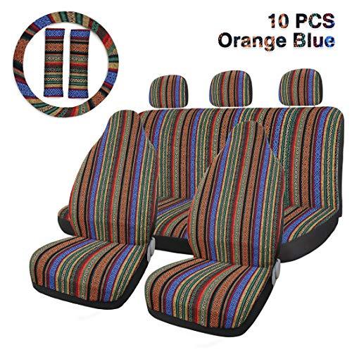 Funda Asiento Coche Asiento 10pcs raya multicolor Cubierta Baja silla Manta de la armadura de la cubierta del asiento del cubo de Automviles y furgonetas con Cubierta del volante Protector