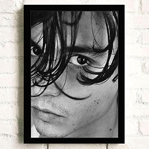 meishaonv American Famous Movie Star and Actor Johnny Depp Imagen Sofá Arte de la Pared Decoración para el hogar Lienzo de Calidad Póster de Pintura A2703 50 × 70CM Sin Marco
