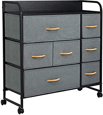 KINGSO 7 Drawer Dresser Storage Tower Organizer Unit with Rolling Wheels,Easy Pull Fabric Drawer, Sturdy Steel Frame, Wood Top, Dressers for Bedroom Living Room Entryway Hallway Closet - Dark Gray