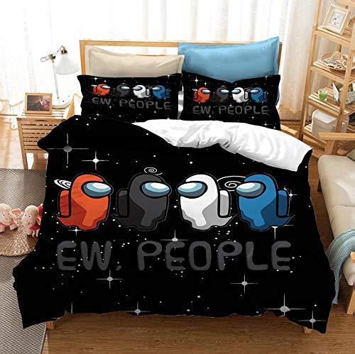 Entre los juegos casuales de EE. UU, Juego de cama con funda nórdica en 3D,cama con funda de edredón suave y cómoda para niños y adolescentes niños y niñas textiles para el hogar-G_180x210cm (3pcs)