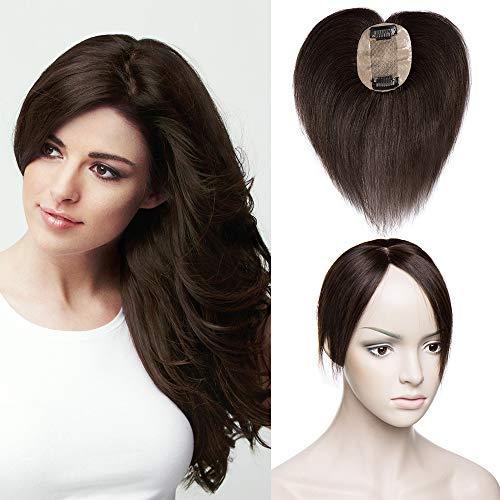 TESS Pony Haarteil Topper Clip in Extensions Echthaar Toupee Haarverlängerung Lace Front Closure Toupet für Frauen 6
