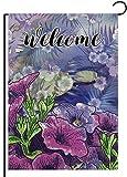 REUTGN Home Dekorative Vintage Morning Glory Blume Kleine Garten Flagge doppelseitig 31,8 x 45,7 cm Willkommen Zitat Lila Floral Jute Frühling Sommer Herbst Jahreszeit Außen Haus Hof Dekoration