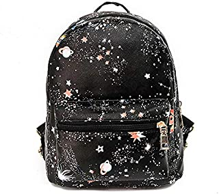 Women PU leather Casual Small Travel Backpacks Girls School Bags Galaxy Stars Universe Space Printing Rucksacks