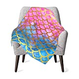 Colla Mermaid Scales Baby Blankets for Girls, Super Soft Cozy Lightweight Plush Nursery Crib Blanket for Toddler, Infant, Newborn, Stroller Nap 30x40 Inches