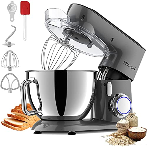 HOWORK 800W Metal Stand Mixer, 9.5QT Bowl 10+P-Speed Food Mixer, Tilt-Head Kitchen Electric Mixer with Dough Hook, Flat Beater & Egg Whisk, Dishwasher Safe (9.5 QT, Gray)