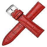 Regarder Bracelet en Cuir Bracelet Montre Rouge de 16 mm pour Femmes Bracelet en Cuir Rouge 16mm Bracelet en Cuir de Veau