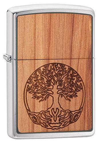 Zippo 18875 Woodchuck Tree of Life xx/300-Spring 2020-60005083, Chrom brushed wooden laser-cut emblem