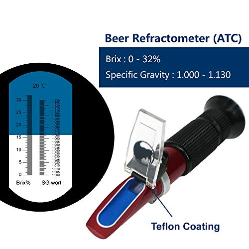 Rhino Beer (0-32% Brix & 1.000-1.130 Specific Gravity) Refractometer for Homebrew and Automatic Temperature Compensation, Replaces Homebrew Hydrometer | Teflon Coating | Wine Fruit Juice Test